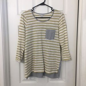Downeast striped top with button up back